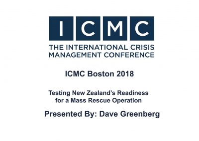 Dave Greenberg – Testing New Zealand's Readiness for a Mass Rescue Operation