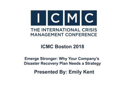 Emily Kent – Emerge Stronger: Why Your Company's Disaster Recovery Plan Needs a Strategy